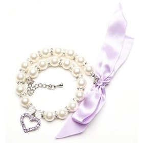 BingPet BB4006 Designer Pet Jewelry Pearl Dog Cat Necklace with Crystal Heart – Purple