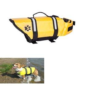 Yellow small Designer Dog Life jacket with paw Pet saver vest coat floattion float aid buoyangcy