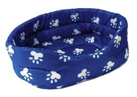 PET BED 15″ Blue w. White Paw Prints Dog Cat Puppy Cushion Pillow Small