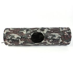 FOCUSPET Pet Agility Training Folding Funny Tube with One Holes Pop Out Tunnel 90cm for Cat Rabbit Puppy Dogs