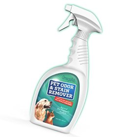 Pet Odor Eliminator and Enzyme Cleaner – Dog Urine Neutralizer Easily Removes Pet Stains and Odors – Works on Cat Urine – Great with Puppy Training Pads and Wipes – Linen Fresh Scent