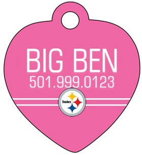 NFL Pink Team Logo Dog Tag Cat Tag Pet Id Tag Personalized w/ Your Pet's Name & Number (Pittsburgh Steelers)