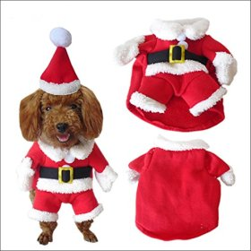 NACOCO Pet Christmas Costumes Dog Suit with Cap Santa Suit Dog Hoodies (X-Large)