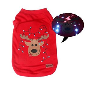 Pawow LED Light up Pet Dog T-shirts Puppy Clothes with Christmas Reindeer at Back, Medium