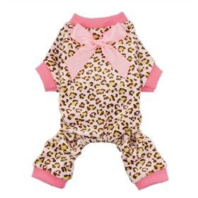 Fitwarm® Leopard Ribbon Soft Velvet Dog Pajamas for Pet Dog Clothes Comfy Pjs, X-small