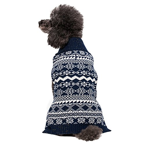 Blueberry Pet 20-Inch Back Length Vintage Tinsel Knit Fair Isle Dog Sweater in Midnight Blue