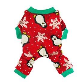 Fitwarm Cute Penguin Xmas Pet Clothes for Dog Pajamas Soft Christmas PJS, Red, XXL