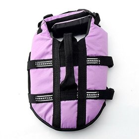 JZHY Dog Life Jacket Safety Clothes Swimming life jackets Swimwear with Adjustable Belt for Dog Pet Size M Color Violet