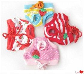 Fashion Shop Female Pet Dog Puppy Bitch Sanitary Cute Short Striped Panty Pant Diaper Underwear (4 colors, S)