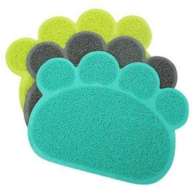 Dog Puppy Paw Shape Placemat Pet Cat Dish Bowl Feeding Food PVC Mat Wipe Clean no.21