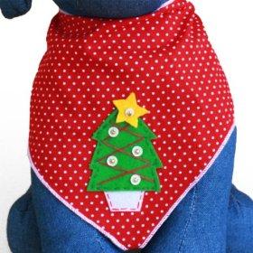 Christmas Tree Holiday Dog Bandana Kerchief (Medium)