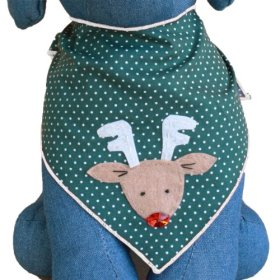 Red Nosed Reindeer Christmas Holiday Dog Bandana Kerchief (Medium)