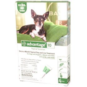 Advantage Dogs & Puppies 1-10LBS (Green) 4 Month Supply