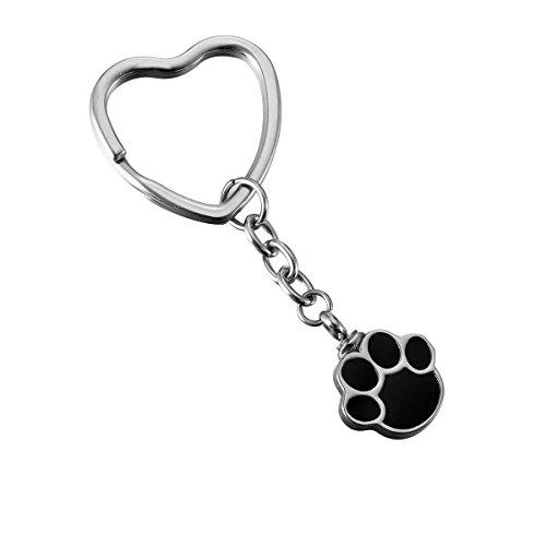 HooAMI Pet Cremation Urn Keychain Puppy Dog Paw Memorial Keepsakes Stainless Steel Heart Keyring