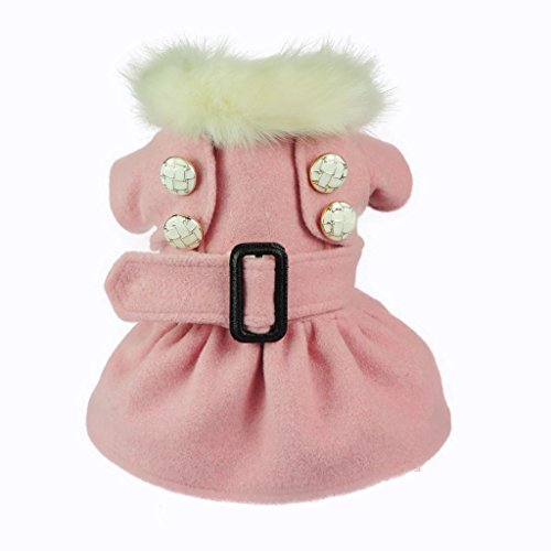 Fitwarm High Quality Noble Pink Woolen Pet Clothes for Dog Jackets Coat Dress, Medium