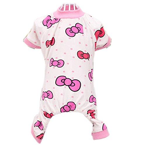 Urparcel Puppy Pet Dog Cotton Pajamas Cartoon Printed Clothes Jumpsuit Shirt (S(Tag:M), Rose)