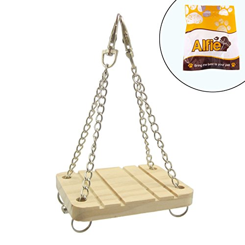 Alfie Pet Small Animal Playground – Karo Wooden Swing (Toy for Mouse and Dwarf Hamster)