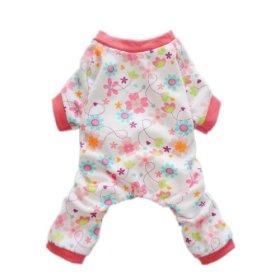 Fitwarm® Pink Floral Dog Pajamas Dog Shirt Cozy Dog Clothes Pet Shirt, Large