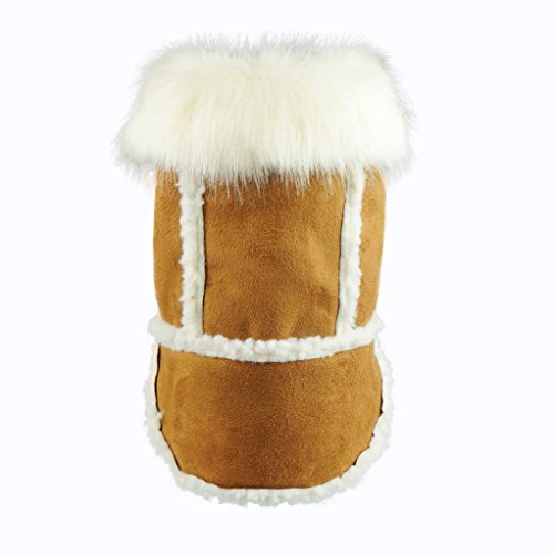 Fitwarm Faux Shearling Pet Jacket for Dog Winter Coats Hooded Clothes Brown, Small