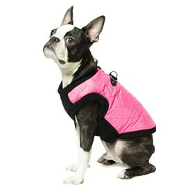 Gooby Fashion Quilted Bomber Dog Vest with Stretchable Chest, Pink, Medium