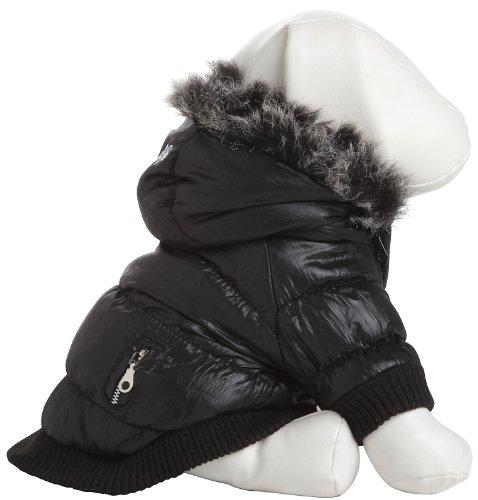 Pet Life Metallic Fashion Parka with Removable Hood in Metallic Black – Medium