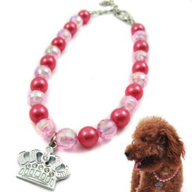 Alfie Couture Designer Pet Jewelry – Eliza Crystal Crown Pearl Necklace – Color: Pink, Size: S (8″- 10″) for Dogs and Cats