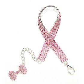 BingPet BB4007 Designer Crystal Pet Jewelry Rhinestone Dog Cat Necklace with Crystal Bone – Pink