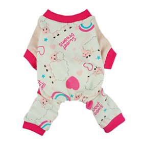 Fitwarm Soft Cotton Sweet Dream Sheep Pet Clothes Dog Pajamas Clothes Shirts, Pink, Large