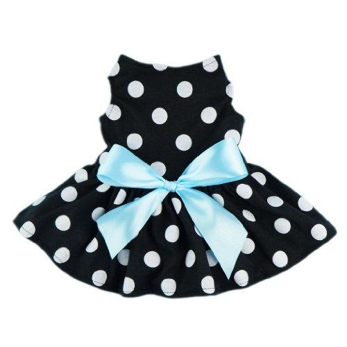Fitwarm® Cute Polka Dot Ribbon Dog Dress Dog Clothes Cozy Dog Shirt Pet Dress, X-Small