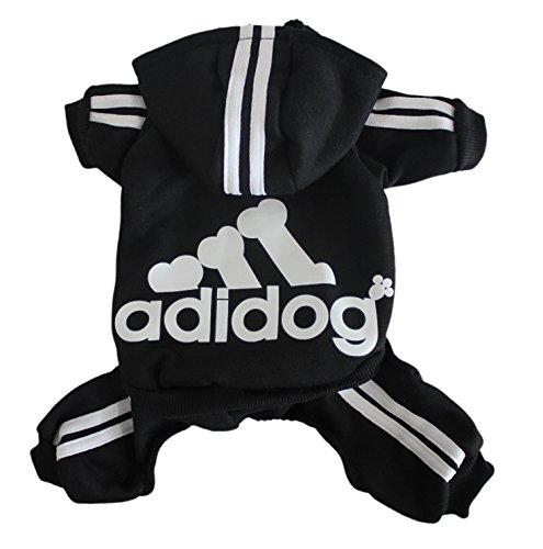 Scheppend Adidog Pet Clothes for Dog Cat Puppy Hoodies Coat Winter Sweatshirt Warm Sweater,Black XXL