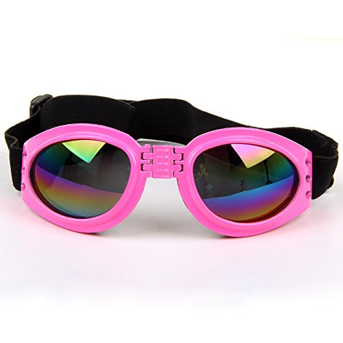 Cool Stylish And Funny cute Pet/Dog Puppy Goggles Sunglasses Waterproof Protection Folding Goggles With 6 Colors(Pink)