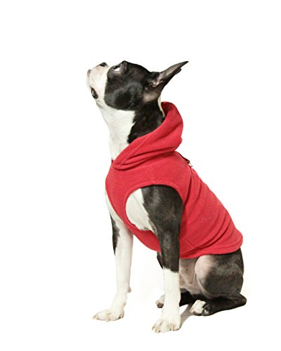 Gooby Every Day Fleece Cold Weather Dog Vest with Hoodie for Small Dogs, Red, Large