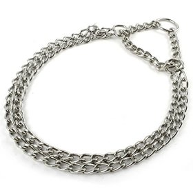 Berry Dog Pet Puppy Martingale Pinch Metal Stainless Steel Collar for Training Walking Link Double Plated Choke Chain Neck for XS Dogs 13-16″