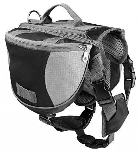 Pettom Saddle Bag Backpack for Dog, Tripper Hound Bag Travel Hiking Caming (Black, L)