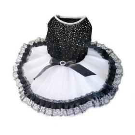 WXBUY Glitter Bow Lace Dog Tutu Dress Bubble Skirt Pet Clothes Puppy Costume M