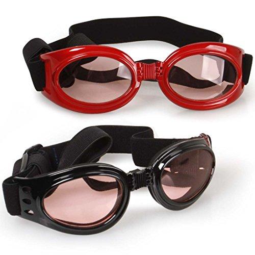 Bundle Monster 2 Pairs of Waterproof Multicolored Adjustable Strap Medium Large Breeds Doggy Sunglasses
