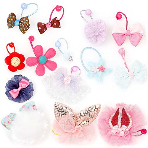 Bundle Monster 14 pc Cute Decorative Elastic Girly Dog Hair Tie Accessories – Set 2: Mixed Designs – Cutie Pie
