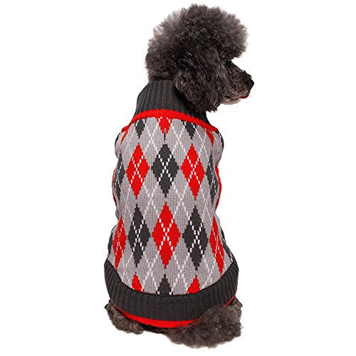 Blueberry Pet Clothes 20-Inch Back Length Chic Argyle All Over Dog Sweater in Charcoal and Scarlet Red