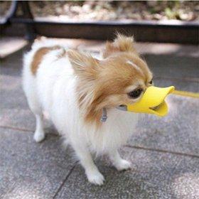 Anti Bite Duck Mouth Shape Dog Mouth Covers Anti-called Muzzle Masks Pet Mouth Set Bite-proof (Yellow, M)