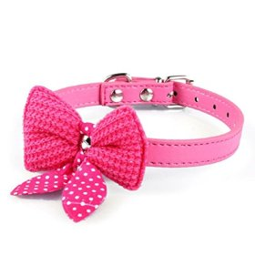 Mokingtop® Hot Cute Knit Bowknot Adjustable PU Leather Dog Puppy Pet Collars Necklace (Hot Pink)