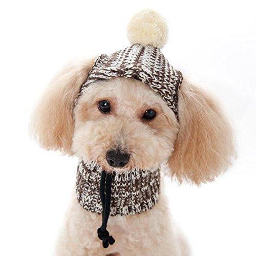 Dogo Sweater Dog Beanie and Neck Hat Medium Brown