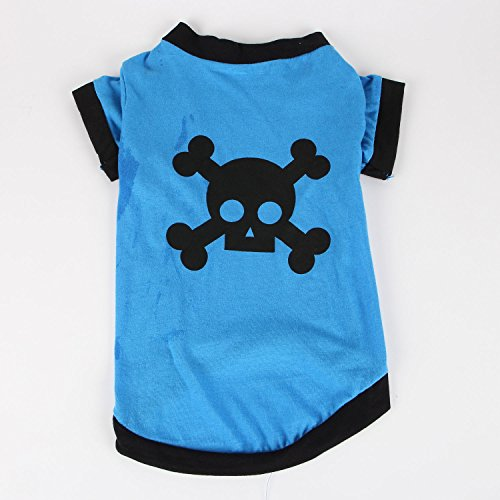 Commoditier(TM) Pet Dog Cat Cute Pirate Symbol Puppy T-Shirt Small Dog Apparel Dress Size X-Small – Blue Color — DESIGNED FOR SMALL BREED DOGS