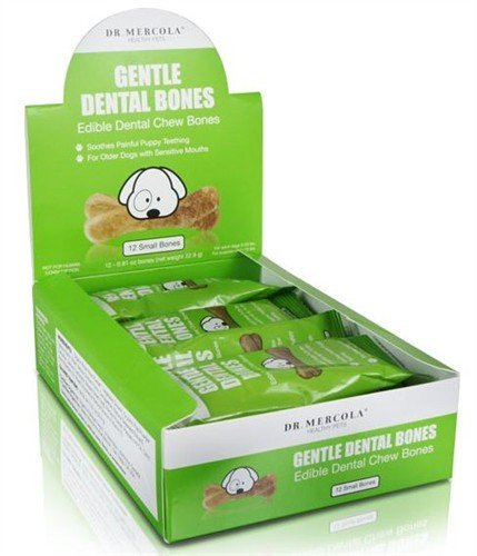 Dr. Mercola Gentle Dental Bones – Edible Dental Chew Bones – Soothes Painful Puppy Teething – For Older Dogs With Sensitive Mouths – 100% USA Ingredients – 100% Natural Nutrition – Small Dogs (Under 25 lbs) – 12 Bones