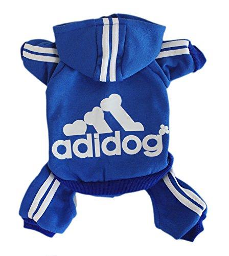 Scheppend Adidog Pet Clothes for Dog Cat Puppy Hoodies Coat Winter Sweatshirt Warm Sweater,Blue Large