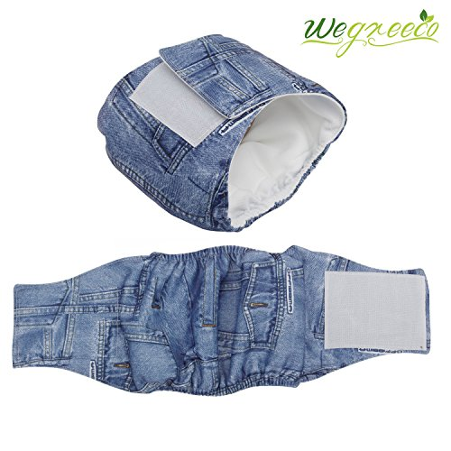 Wegreeco Jeans Washable Male Dog Diapers (Pack of 2) – Washable Male Dog Belly Wrap (X-small – 10″- 14″ Waist)