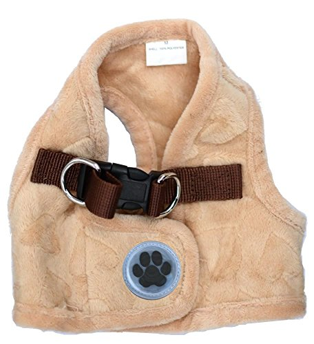 Lovely Heart Print Warm Fleece Pet Vest Harness Puppy Cat Harness for Small Dogs Cats Kitten ,Small Beige