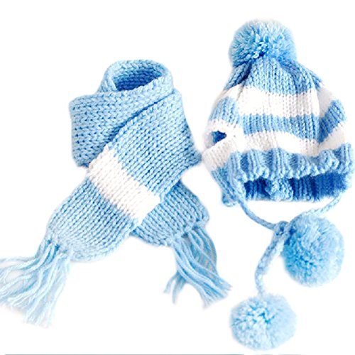 Silvercell Puppy Pet Dog Scarf Pom-pom Cap Collar Clothes Costume Knitted Hat Blue XS