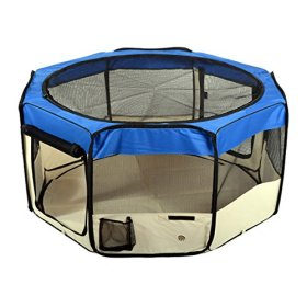 Jespet 61″ Blue Playpen Dog Puppy Animal Exercise Pen Kennel 30″ Height Portable Soft Sided Cat Dog Tent Fence Cage with Carry Bag
