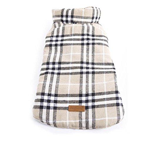 Sunward Pet Dog Waterproof Grid Jacket Coat , Winter Warm Windproof Plaid Reversible Coat Apparel for for Pet Dogs Puppy (Beige, S)
