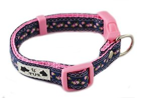 """Dog Collar for Girl Puppy in Pink, Green, Navy, White Designer Fashion Flowers """"Vintage Blooms"""" for New Pet Small , By Le Fur (Navy on Pink, Small)"""